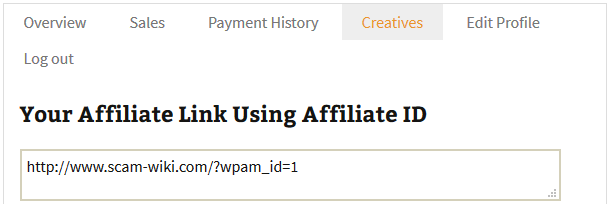 screenshot showing the default affiliate link in the affiliate dashboard