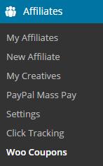 screenshot showing the woocommerce coupons addon menu
