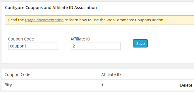 screenshot showing the woocommerce coupons addon settings