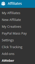screenshot showing the aweber menu of affiliates manager plugin