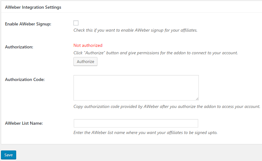 affiliates manager aweber addon settings