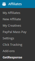screenshot showing the getresponse menu of affiliates manager plugin