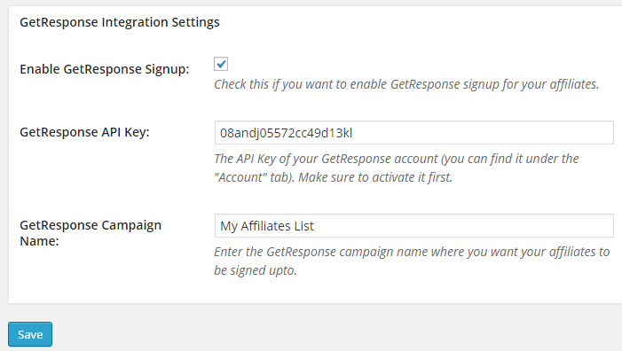 screenshot showing the getresponse settings of affiliates manager plugin