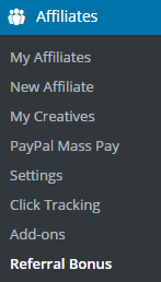 screenshot showing the affiliate referral bonus addon menu