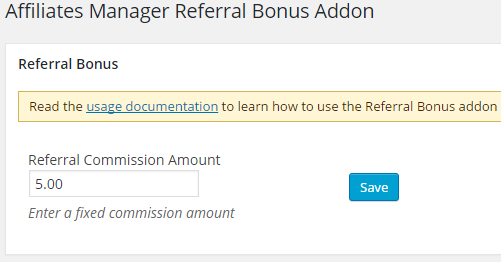 screenshot showing the affiliate referral bonus addon settings