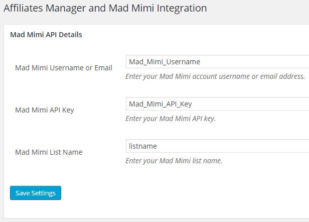 affiliates-manager-madmimi-integration-settings