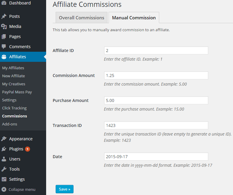 screenshot of manual commission menu in the affiliates manager plugin