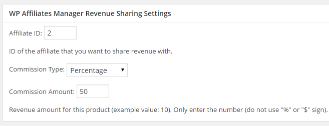 screenshot of revenue sharing settings in woocommerce
