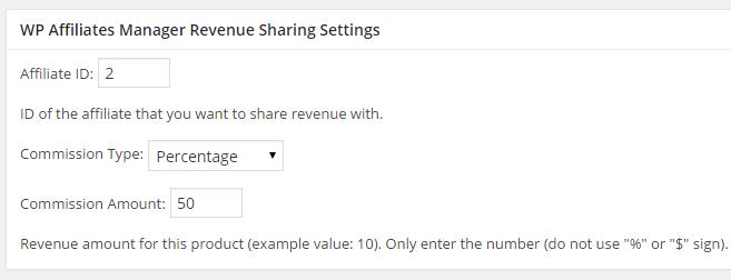 screenshot of revenue sharing settings in woocommerce