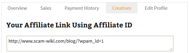 screenshot of custom affiliate link in the affiliate portal