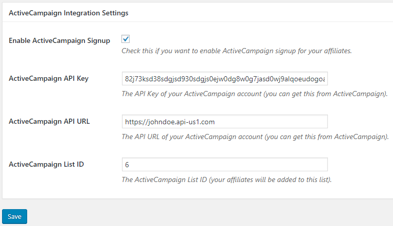 screenshot of the activecampaign settings in the affiliates manager plugin