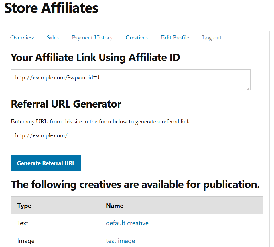 screenshot of affiliate overview page