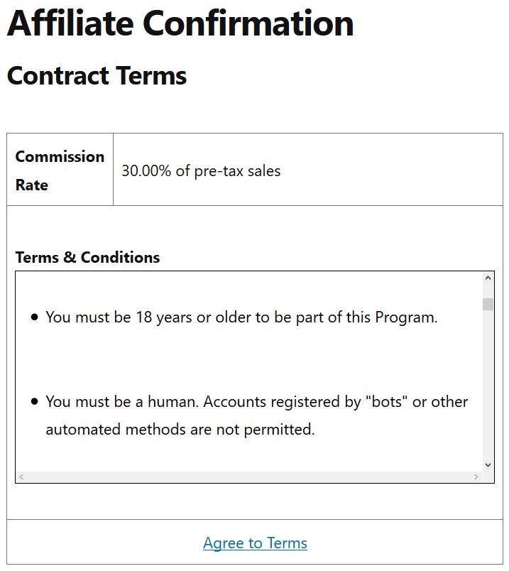 screenshot of affiliates manager agree to terms page