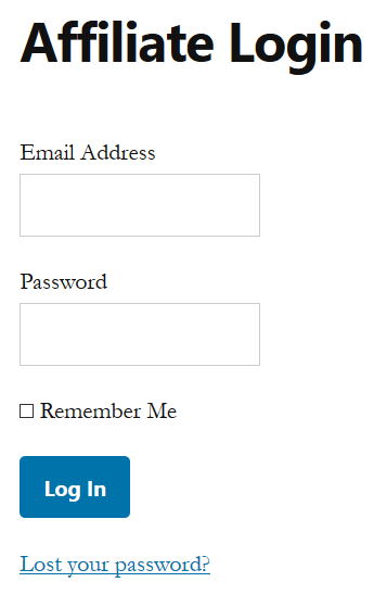 screenshot of affiliates manager login page
