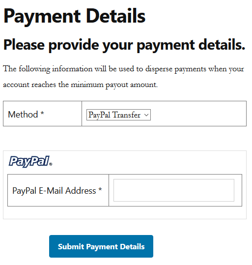 screenshot of affiliate payment details submission page