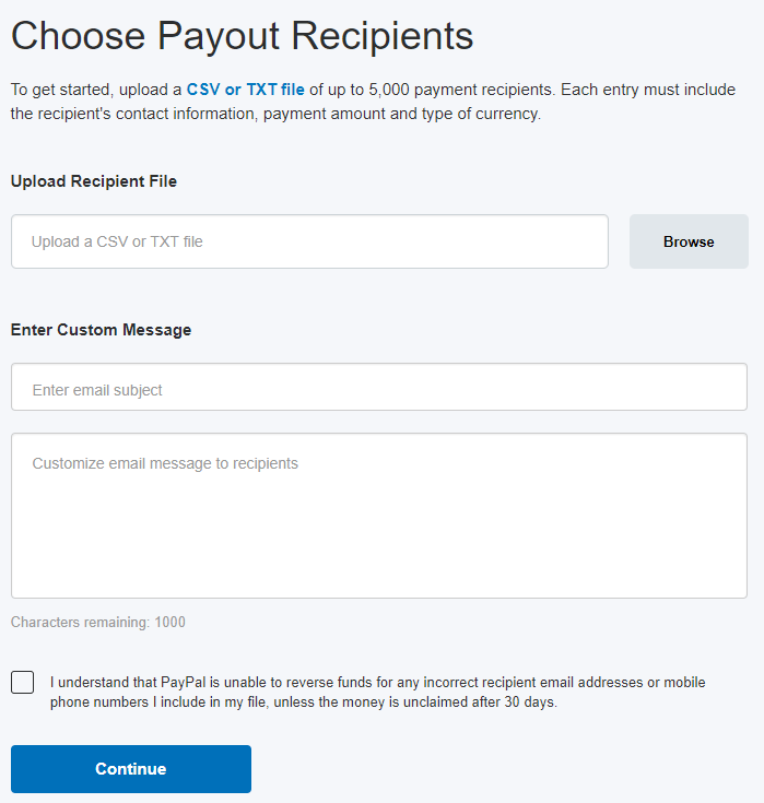 screenshot of choose payout recipients interface in PayPal