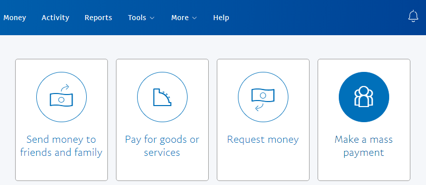 screenshot of make a mass payment menu in PayPal