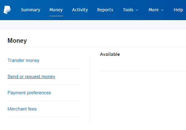 screenshot of send or request money menu in PayPal